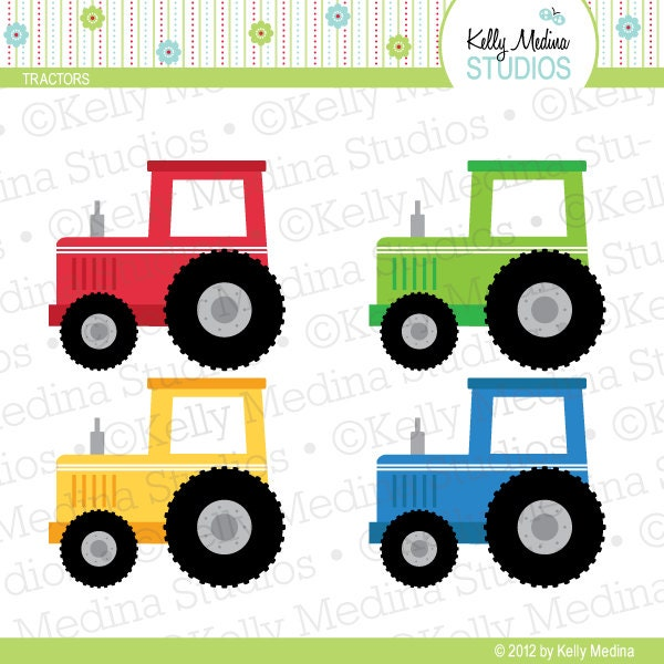 Blue Tractor Clipart Tractors green blue red yellow