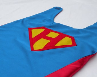 PERSONALIZED Shield SUPERHERO CAPE - Customize with your child's initial - doublesided Boy Super Hero Cape-boy birthday gift