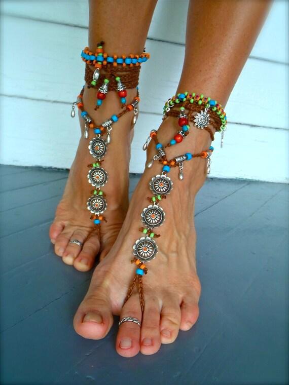 BAREFOOT BOHEMIAN WEDDING barefoot sandals Toe thongs Anklet crochet Sandals sole less shoes crochet Flower anklets bare feet Teardrop charm