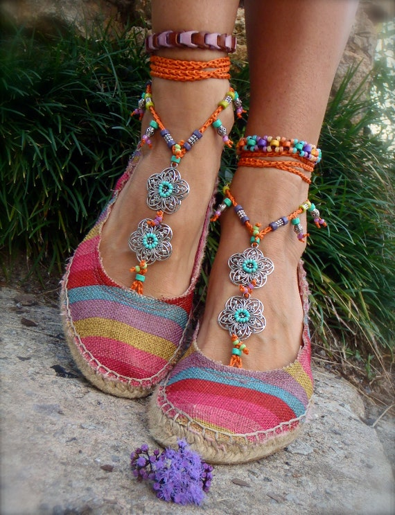GYPSY summer BAREFOOT SANDALS sole less sandals beach wedding rainbow dance jewelry slave anklet foot jewelry bohemian shoes unique