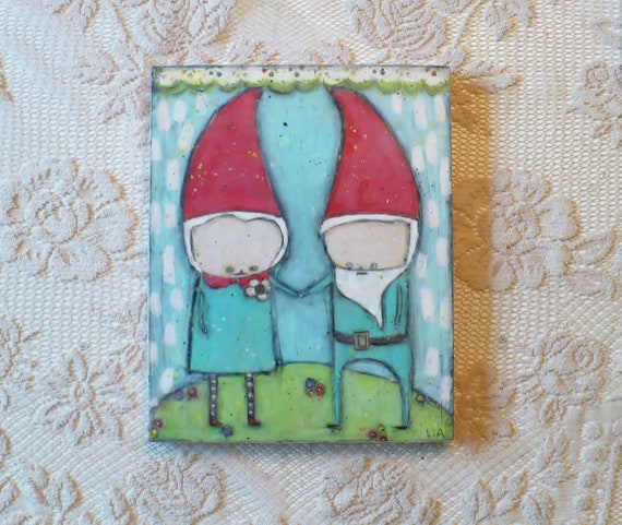 Encaustic mixed media painting Gnome Union love 8x10 Wood Burned Painting