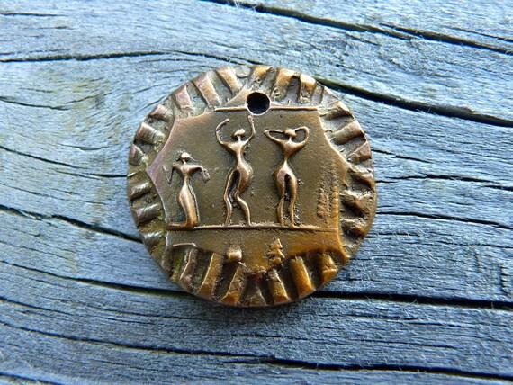 Story Talisman - Medium Oval Bronze Coin Charm