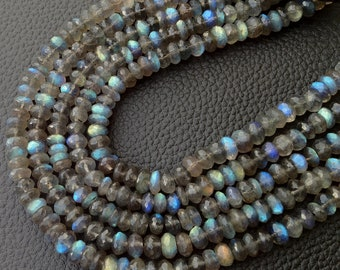 New Arrival, RARE Blue Flashy Labradorite Micro Faceted Rondelles, Full 8 inch Strand, 8mm, Superb Quality. at Low Price