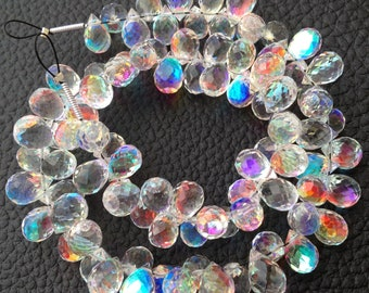 Brand New, FIRE RAINBOW Moonstone Quartz Faceted Drops Shape Briolettes,30 pieces,8-9mm Long, Superb FIRE Flashy