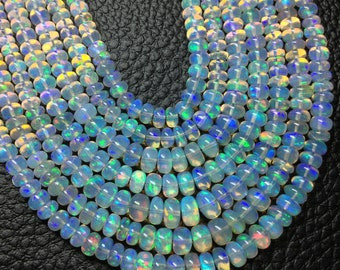 3x15 Inch Long, AAA Quality, ETHIOPIAN Opal Smooth Rondelles,4-6mm size,Superb Promotional Price Offer