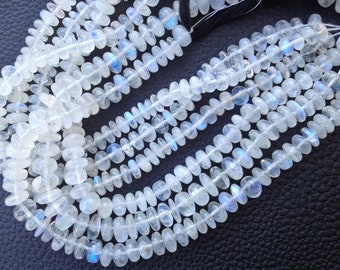 Brand New, Full 8 Inch Strand, Blue Flashy RAINBOW Moonstone Smooth Rondelles,6-7mm size,Superb Polished Smooth
