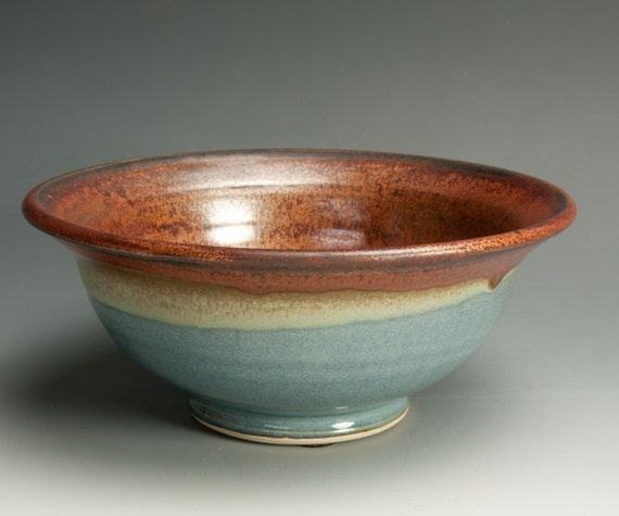 Handmade white stoneware brick red and soft blue ice cream, cereal, soup bowl - 592