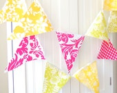 Party Banner, Bunting, Fabric Pennant Flags, Baby, Bridal Shower Wedding, Birthday, Tween Girl Room Decor, Hot Pink, Lime, Yellow Photo Prop