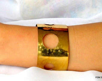 Formed brass cuff, open work artisan armband, gold brass bracelet, gift under 40