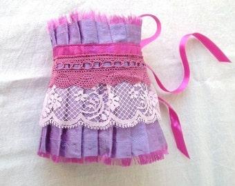 Lilac Shantung Silk Pink Lace and Fuchsia Ribbon Ruffle Cuff  Bridal Wedding Fun Statement