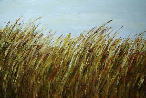 ELENA Grassland 36x24 acrylic abstract painting contemporary modern floral palette knife