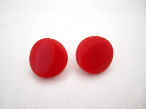 vintage 80s RED solid circle Retro Earrings