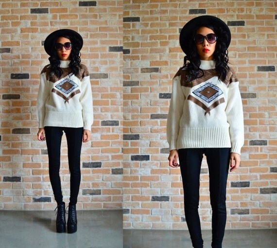 80s knitted ski sweater with snake skin and diamonds - Batwing sleeve knit pullover - Extra Small XS
