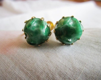 Vintage Gold Tone Screw-Backed Green Budded Earrings