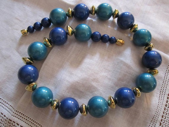 Vintage Gold Tone Parisian Style Large Blue and Turquoise Beaded Necklace by Avon