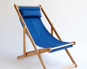 White oak deck chair with organic blue cotton sling SALE
