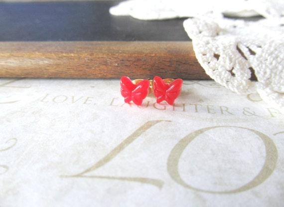 FLY petite scarlet butterfly post earrings (gold backs) nickle-free