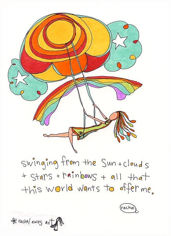 swinging from rainbows. colorful illustration by rachel awes. art print.