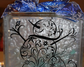 Snowman DIY Decal for Glass Block