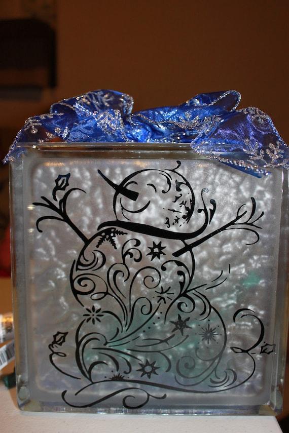 Snowman Diy Decal For Glass Block