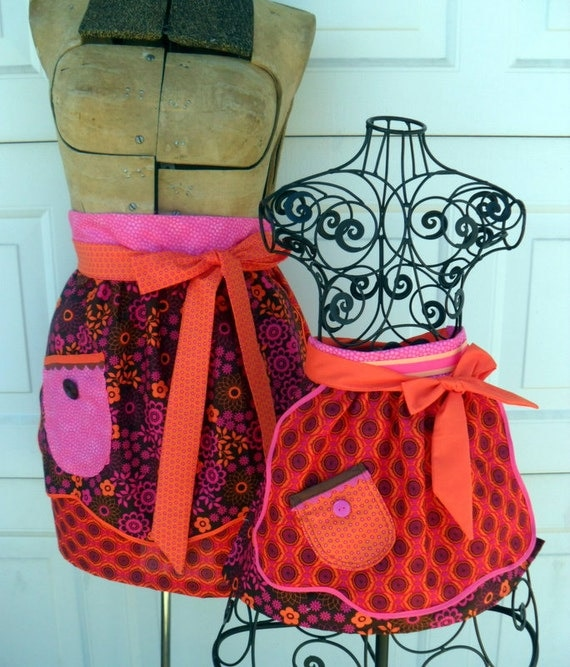 Mommy and Me Matching Half Apron Set in Bright 70s Colors