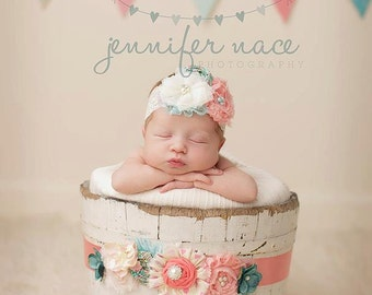 Coral, pink and aqua maternity bridal  sash or infant wrap with lace, rosettes, chiffon flowers and ruffles