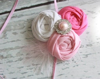 Posh in Pink-- triple rosette headband with feather accent