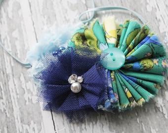 The Royal Emerald Skies- ruffle, chiffon and tulle flower rosette headband