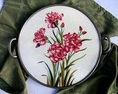 Large Ceramic Cake Plate or Trivet with Carnations