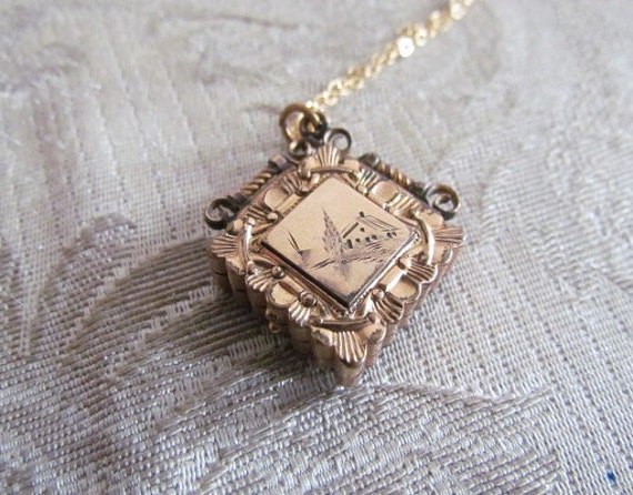 Antique Victorian Locket With Engraved Country House Scene c.1880s