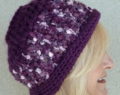 Purple Winter Hat, Crochet Winter Hat, Bohemian Accessories, Purple Hat, Ski Accessories