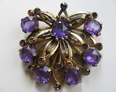 Amethyst Dress Clip 1930's - LARGE