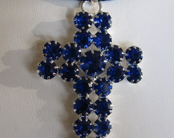 Victorian Style Rhinestone Cross Necklace