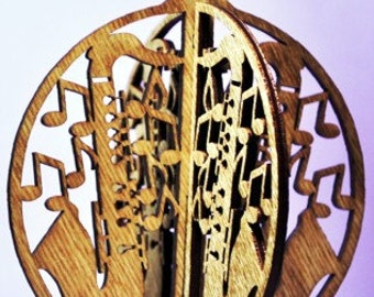 3-D Saxaphone Wood Ornament