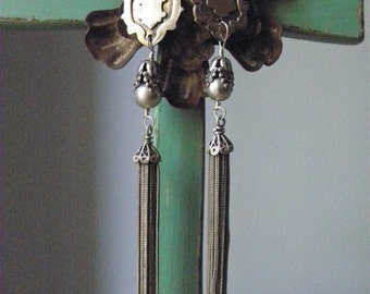 TASSELS and FOBS - Vintage Sterling Fobs and Tassel Earrings