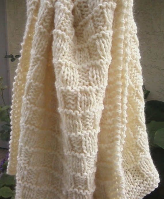 Price reduction, knit throw blanket (wool natural color)