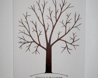 Fingerprint Tree on Canvas with Ink Pads - Hand Painted - Custom Orders Only - 125 - 175 Guests  - Wedding Guest Tree  -  Large