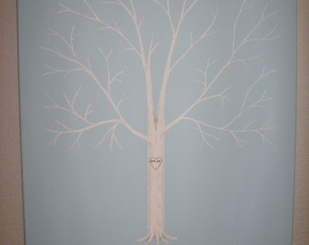Wedding Guest Thumbprint Tree - Fingerprint Tree on Canvas with Ink Pads - Custom Orders Only - 125-175 Guests