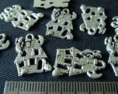 Destash (9) Haunted House Charms - for pendants, jewelry making, crafts, scrapbooking