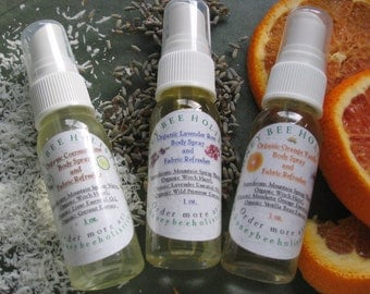 Organic Refresher Spray Trio Gift Pack - In Muslin Drawstring bag - Body Spray Gift Set - 3 (1oz) Trial Sizes