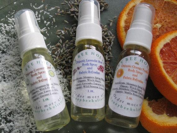 Organic Refresher Spray Trio Gift Pack - In Muslin Drawstring bag - Body Spray Gift Set - 3 (1oz) Trial Sizes