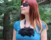 Black Feather and Bead Necklace