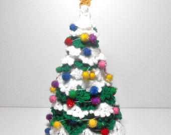 Hand Crocheted Christmas Tree, Family Heirloom Green and White Christmas Tree, Christmas Decoration