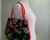 Cherry oilcloth purse