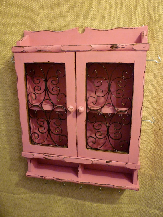 Upcycled Jewelry Organizing Display (Pink Cabinet)