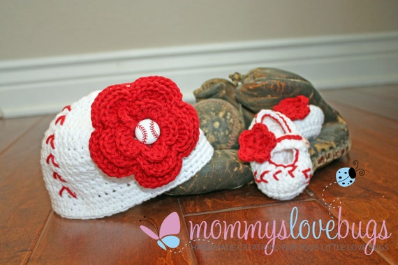 Girls Baseball Crochet Beanie and Booties Set - Newborn through 24 Month Sizes Available