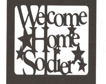 Welcome home soldier word silhouette