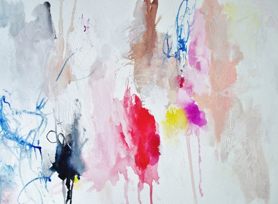 Charade- Mixed Media Original- 15x11- Bright, Fresh, Abstraction