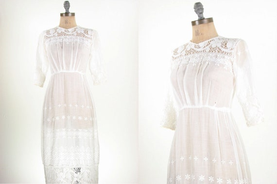 RESERVED...Edwardian White Cotton Embroidered Lace Antique Floral Wedding Dress 1900 / XS