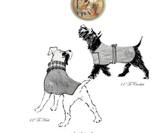 Dog Coats - Vintage Pattern to Knit and Crochet Circa 1934 - Instant Download PDF - PrettyPatternsPlease